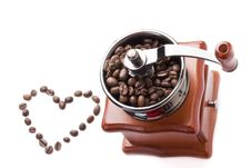 Free Coffee Grinder With Coffee Beans Royalty Free Stock Photo - 17589185