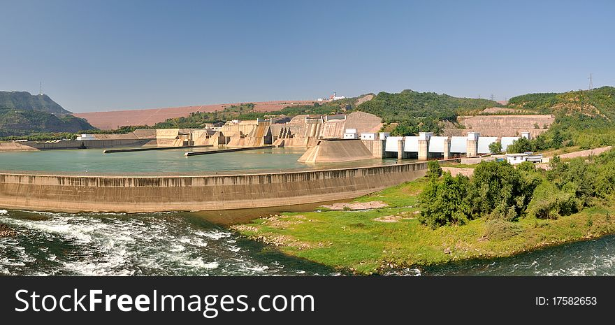 Panorama of water electricity plant and dam