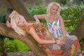 Free Two Pretty Girl Friends Posing On Trees Stock Image - 17593161
