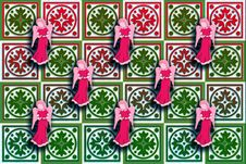 Free Gift Box Wrap Red & Green With Floating Angels Stock Images - 17590884