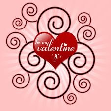 Free Be My Valentine Heart And Swirl Royalty Free Stock Photo - 17590955
