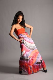 Free Sexy Young African Model Wearing Colourful Dress Royalty Free Stock Photo - 17592545