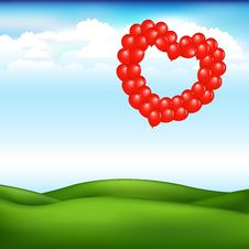Landscape With Balls In Form Of Heart. Vector Stock Images