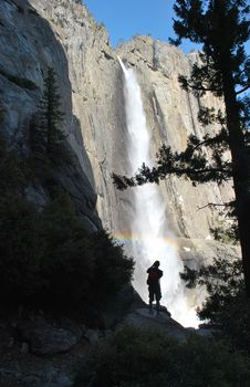 Free Man And Nature - Yosemite Waterfall Stock Photography - 17593272
