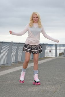 Free Pretty Young Female On Roller Skates Stock Photo - 17593320