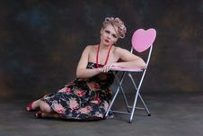 Free Retro 50s Style Female Relaxing Stock Photography - 17593402