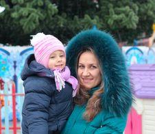 Free Mom And Girl Near A Christmas Tree Stock Image - 17593451