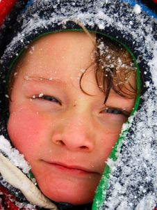 Snowy Cold And Wet Toddler Boy Face Royalty Free Stock Photos