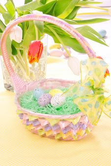 Free Easter Painted Eggs In Basket Stock Image - 17596941