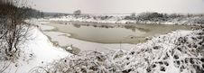 Winter Panorama: Partially Frozen Lake Stock Image
