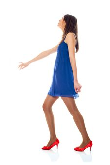 Young Woman With Blue Dress And Red Shoes Royalty Free Stock Photos