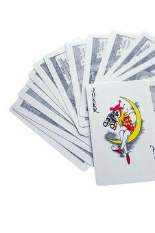 Joker Upon Playing Cards Stock Photo
