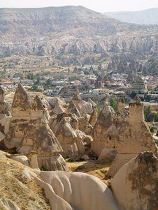 Sandstone Formations In Cappadocia Stock Photography