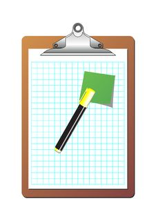 Clipboard Post It Note And Marker Stock Photos