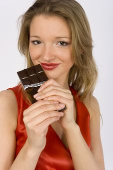 Free Young Woman With Bar Of Chocolate Stock Photos - 1769103