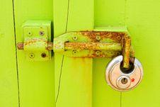 Padlock On Colorful Door Royalty Free Stock Photos