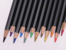 Colored Pencils In Row Royalty Free Stock Photo