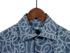 Blue Shirt On Wooden Hanger Royalty Free Stock Images
