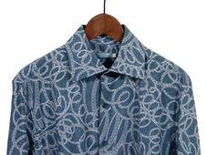 Free Blue Shirt On Wooden Hanger, White Background Stock Photos - 1769783