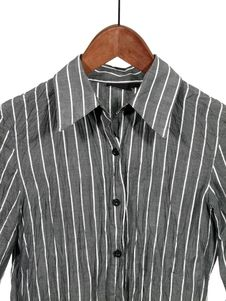 Gray Striped Shirt On Wooden Hanger Royalty Free Stock Photography