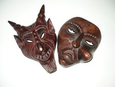 Free Pair Evil Satanic Weird Wooden Evil Mask Royalty Free Stock Photography - 1769977