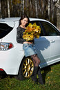 Free Beauty Girl With Yellow Leaves And White Car Stock Photo - 17607470