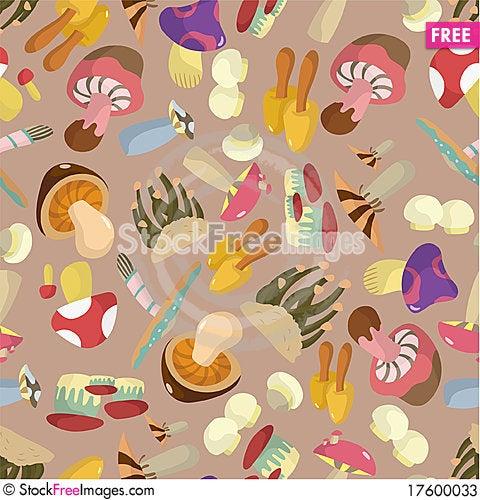 Seamless Mushrooms pattern Stock Photo