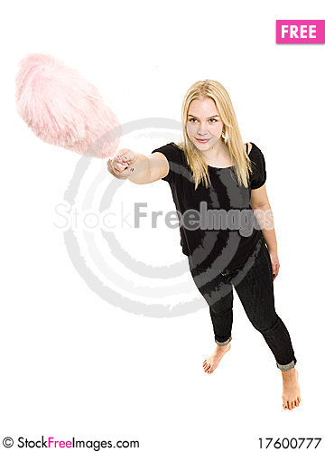 Woman with a duster Stock Photo