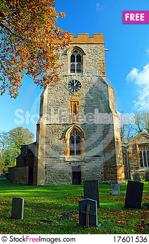 Free Yelvertoft Church Clock Tower In Autumn Leaves 099 Royalty Free Stock Image - 17601536