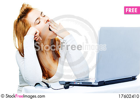 Adult red haired business lady over white frustra Stock Photo