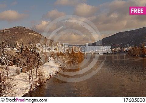 Neckar at winter, river in Heidelberg, Germany Stock Photo