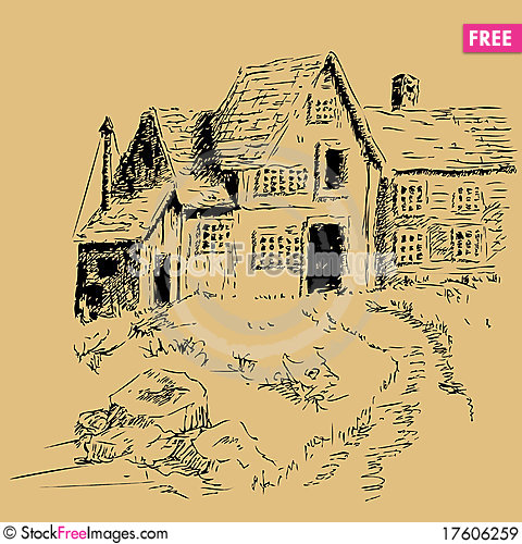 Freehand pen and ink cottage house Cartoon Illustration