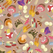 Free Seamless Mushrooms Pattern Stock Photos - 17600033