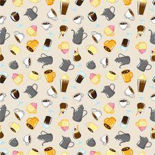 Free Seamless Coffee Pattern Stock Photography - 17600102