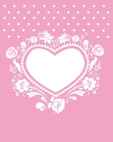 Free Pink Background With Heart Stock Photography - 17602222