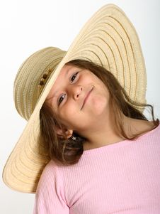 Free Little Girl Straw Hat Stock Photos - 17603883