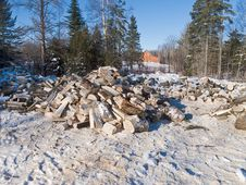 Free Snowy Scene With Firewood Stock Photo - 17605090
