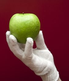 Free A Hand In White Glove Holding An Apple Stock Image - 17605281