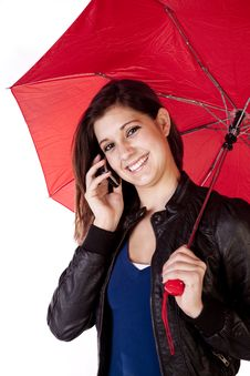 Free Woman Umbrella Phone Forward Looking Stock Photo - 17605860