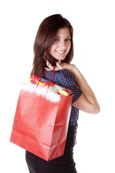 Free Shop Look Over Shoulder Red Bag Stock Photography - 17605862