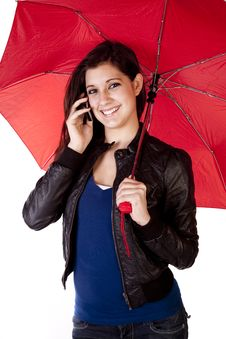 Woman Looking Forward With Phone Umbrella Royalty Free Stock Image