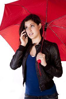 Free Woman On Phone Looking Up Umbrella Stock Photos - 17605893