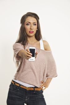 Free Pretty Young Woman Talking On Cell Phone Stock Images - 17606614