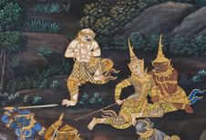 Free Masterpiece Of Traditional Thai Style Painting Art Stock Images - 17607154