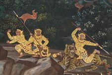 Free Masterpiece Of Traditional Thai Style Painting Art Royalty Free Stock Image - 17607206