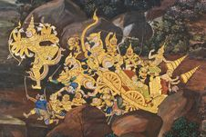 Free Masterpiece Of Traditional Thai Style Painting Art Royalty Free Stock Photography - 17607277