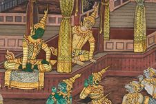 Free Masterpiece Of Traditional Thai Style Painting Art Royalty Free Stock Photo - 17607315