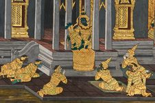 Free Masterpiece Of Traditional Thai Style Painting Art Stock Photo - 17607350