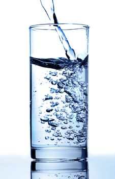 Pure Water Is Poured In A Glass Royalty Free Stock Photo