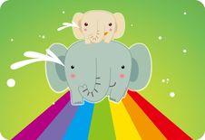 Free Elephant On The Rainbow Stock Photos - 17609223